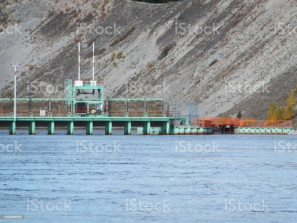 Yukon River Hydroelectric dam stock photo