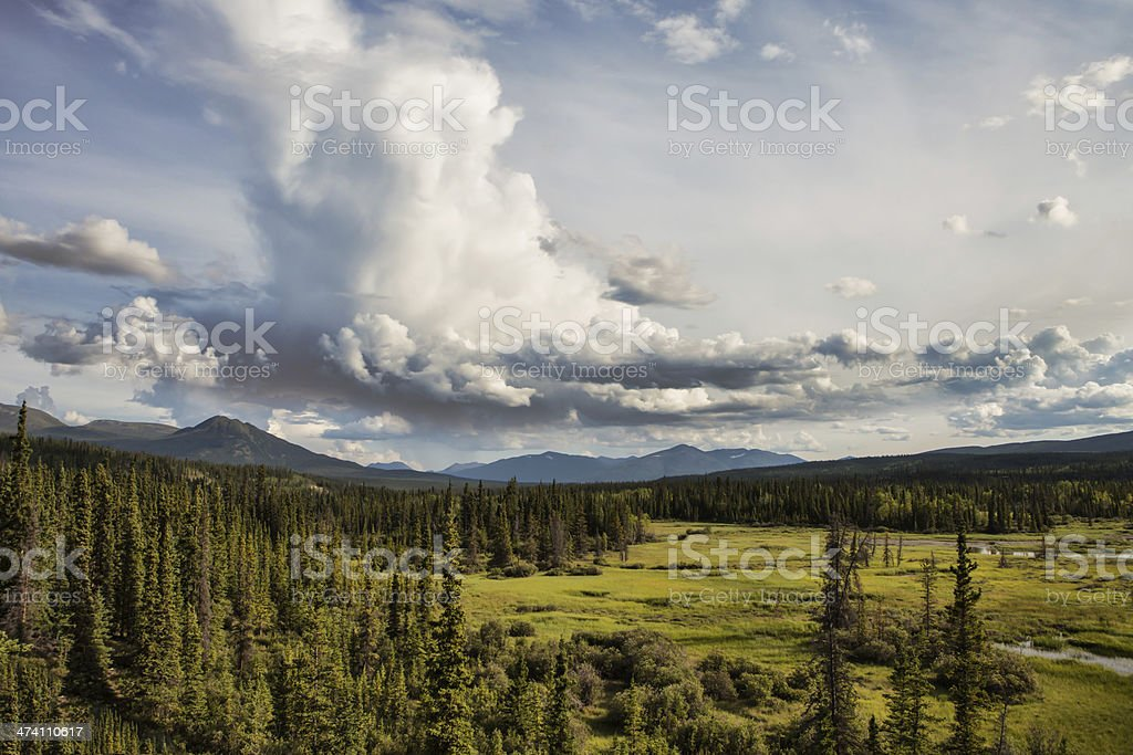 Yukon Wilderness with Clouds stock photo