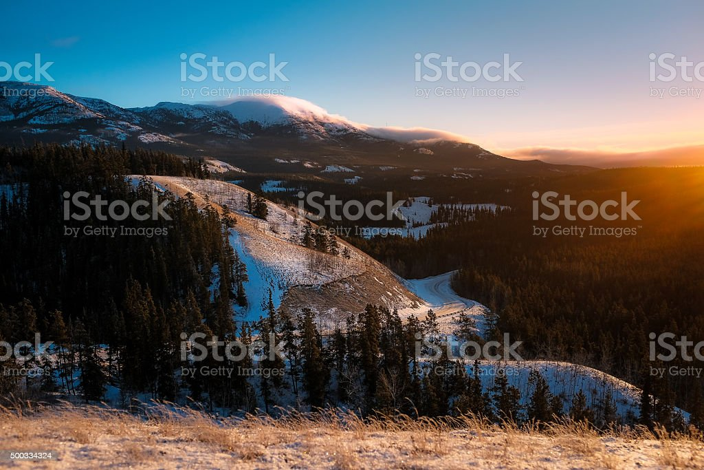 Yukon Winter Mountain Landscape stock photo