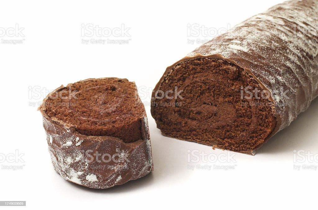 Yuletide chocolate log stock photo