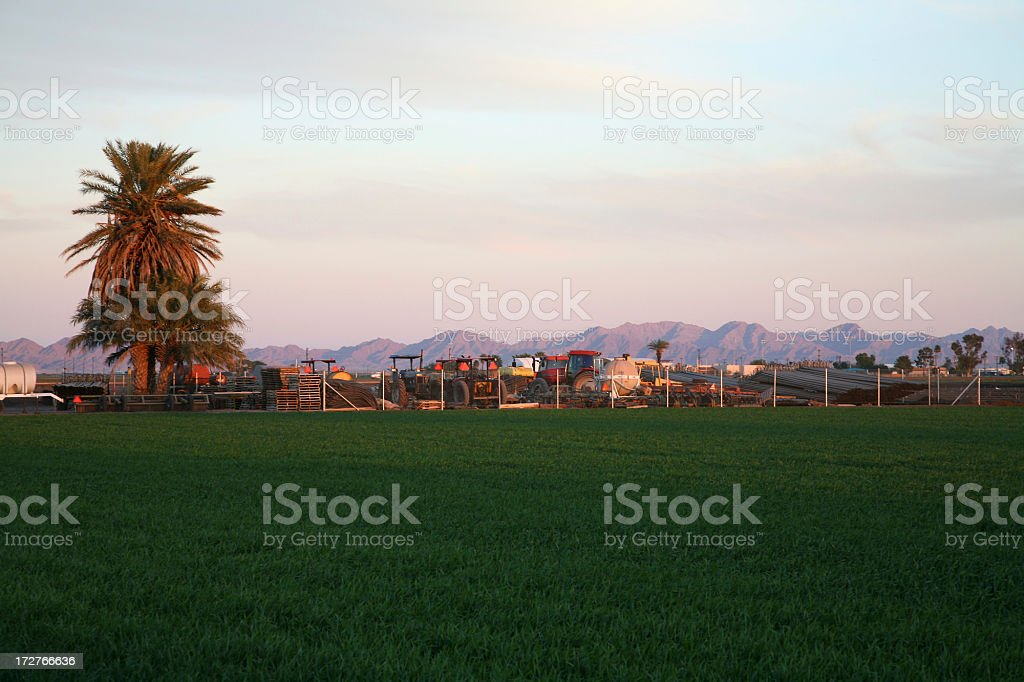 Yuma Arizona Agricultural Equipment At Dusk stock photo