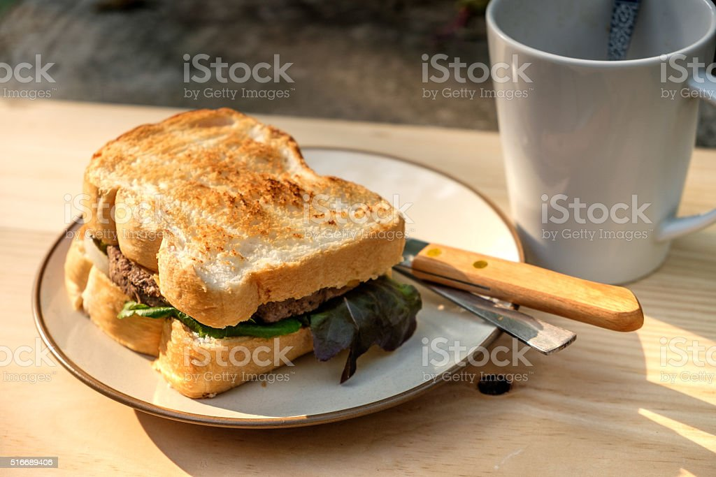 Yummy Beef and cheese Grilled Sandwich stock photo