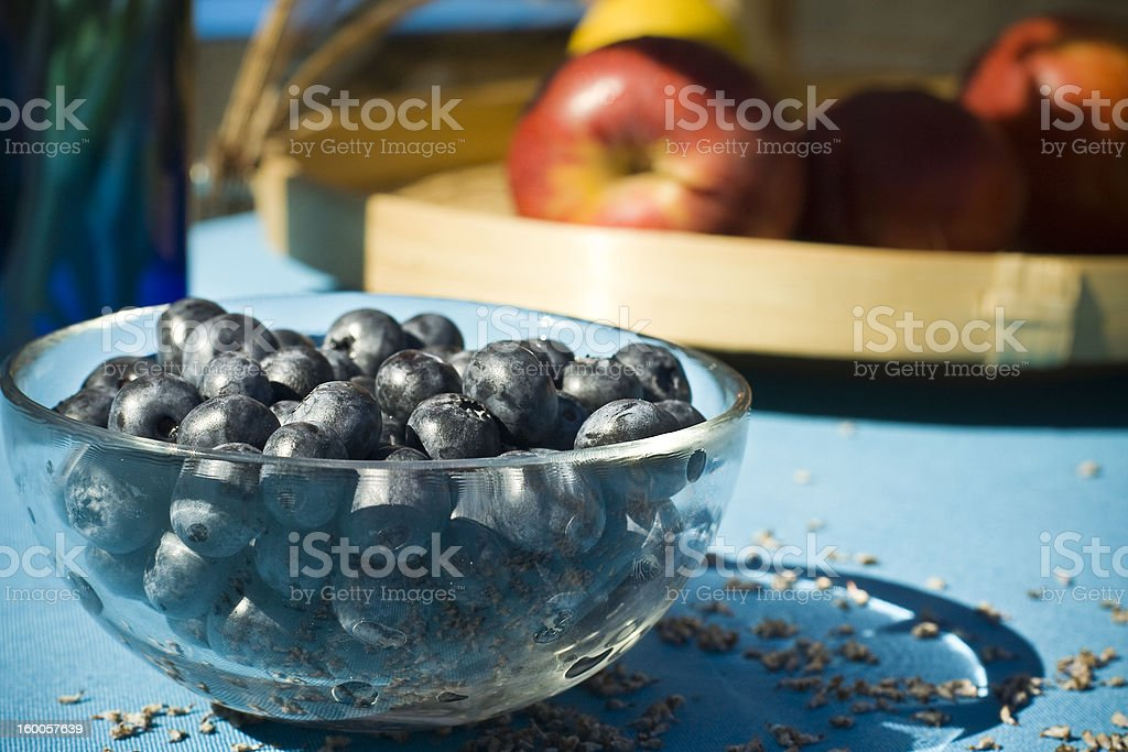 yummy blueberries in a transparent glass dish royalty-free stock photo