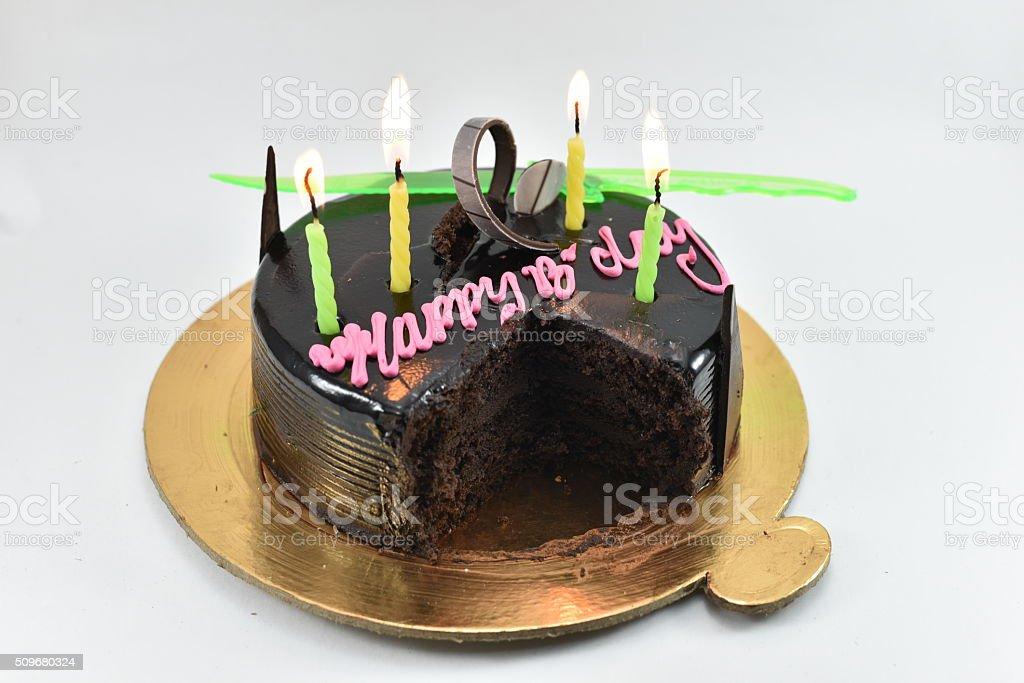 Yummy chocolate birthday cake stock photo