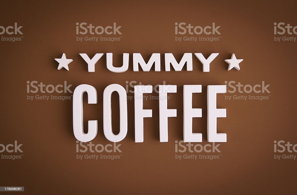 Yummy Coffee sign lettering royalty-free stock photo