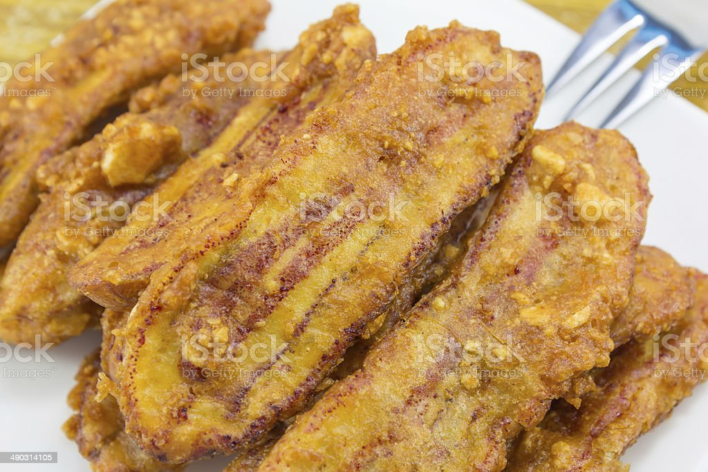 yummy fried banana stock photo