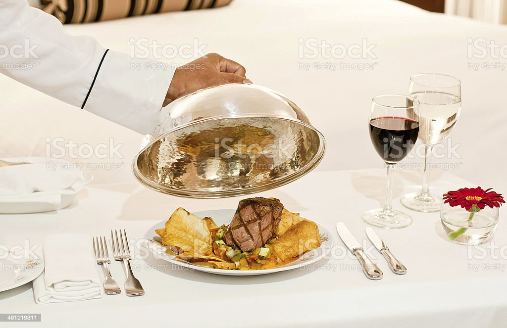 A yummy hotel room service delivery stock photo