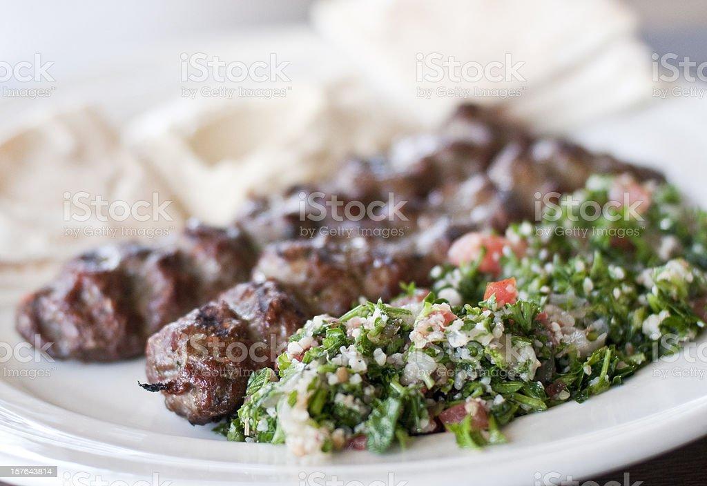Yummy steak kebab middle eastern lunch stock photo