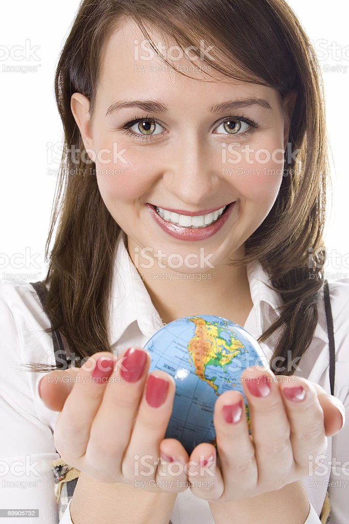 yung beauty girl hold globe in palm royalty-free stock photo