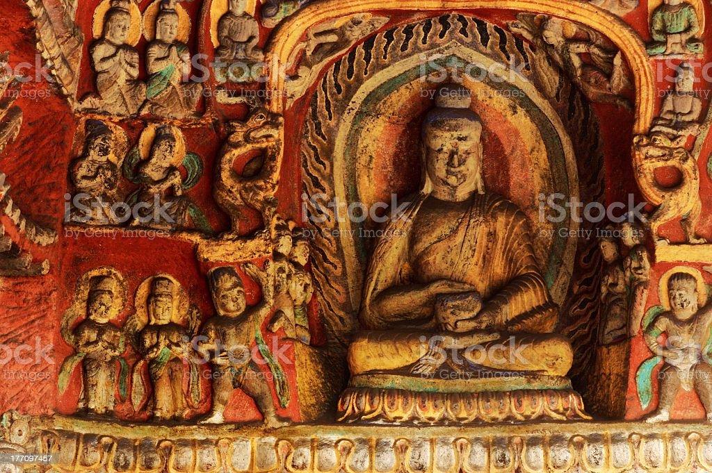 Yungang buddhist caves stock photo
