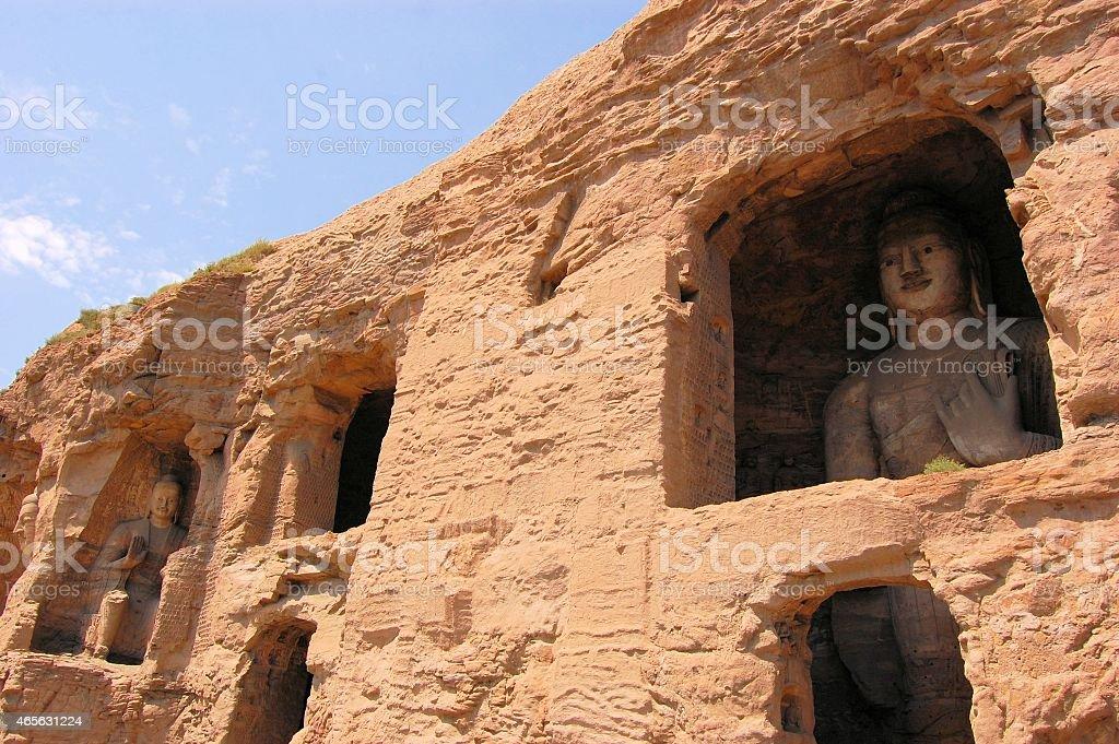 UNESCO Yungang Grottoes Buddhist caves, China stock photo