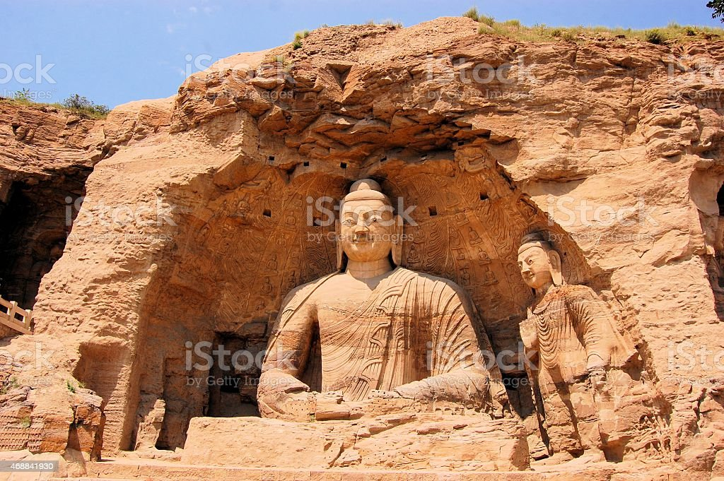 UNESCO Yungang Grottoes Buddhist caves, China stock photo
