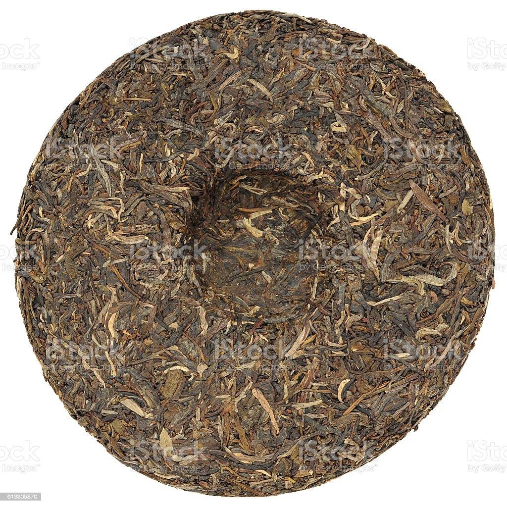 Yunnan raw sheng high mounting puerh tea with stone impress stock photo