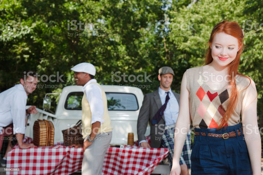 Yuppie Young Adults Having a Picnic royalty-free stock photo