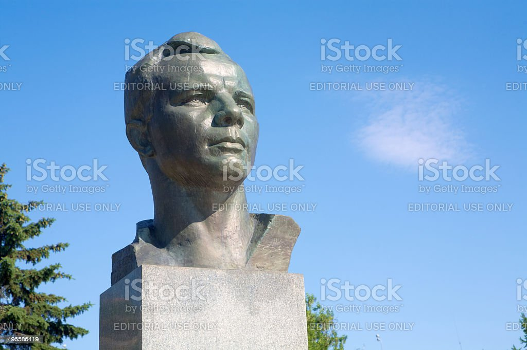 Yuri Gagarin monument in Moscow stock photo