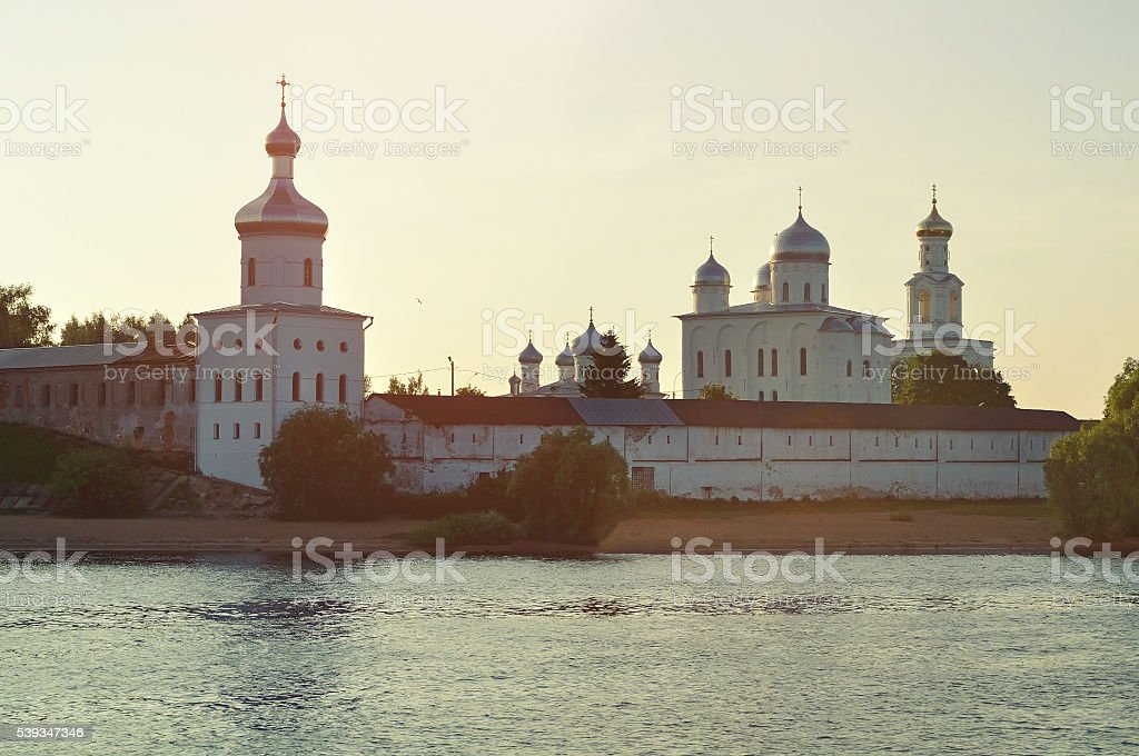 Yuriev male monastery on the bank of the Volkhov river stock photo