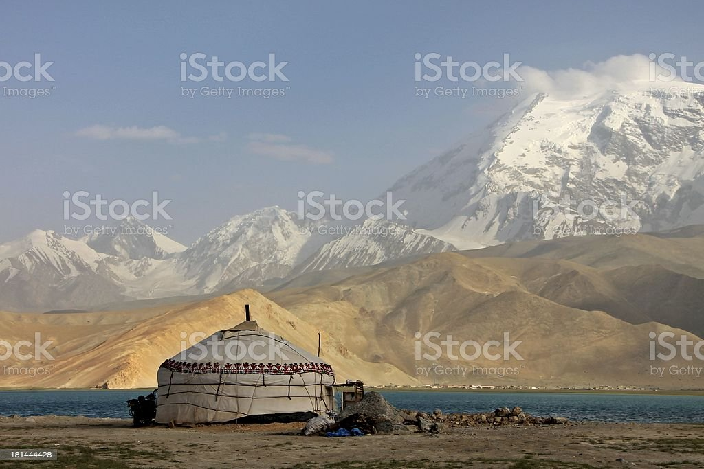 Yurt and Mushtaq Ata peak Karakorum stock photo