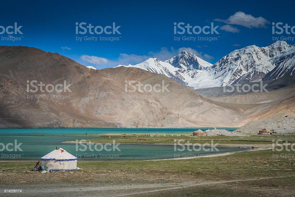 Yurt at the lake stock photo