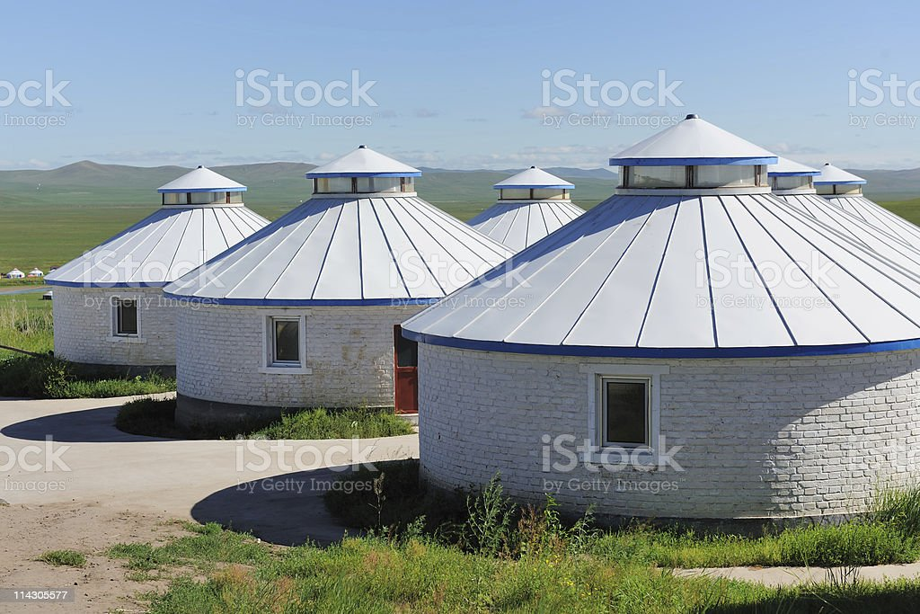 Yurt in Mongolia Grassland stock photo