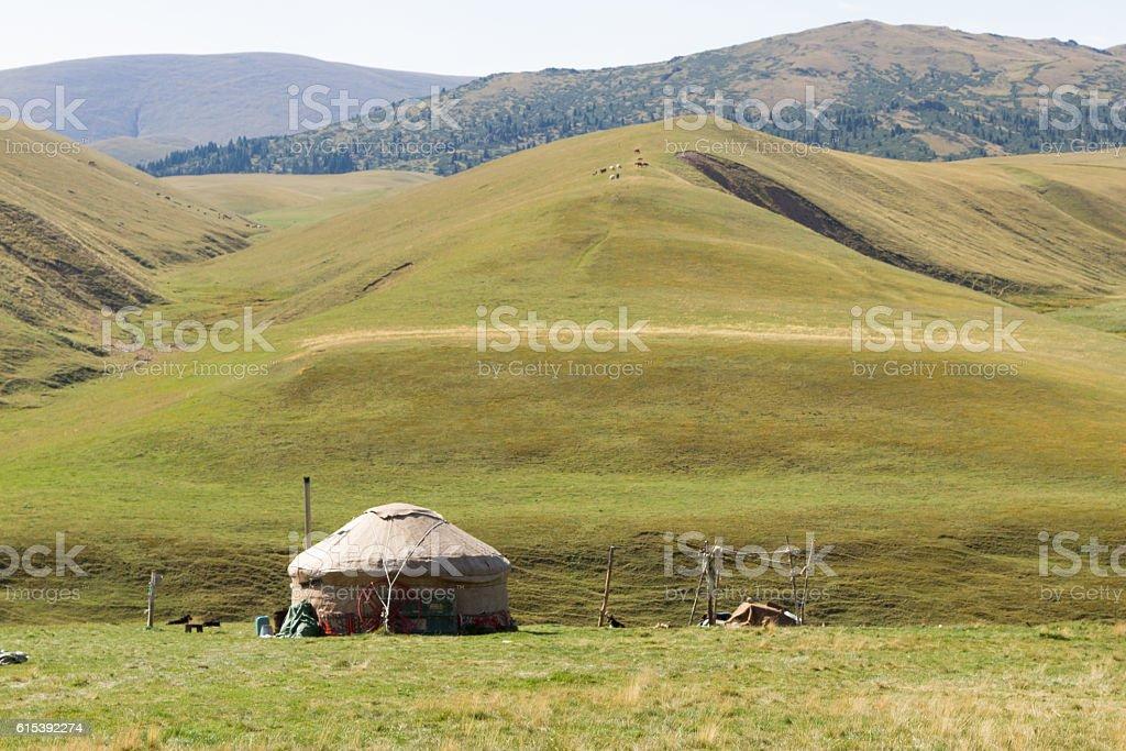 yurt in the mountains of Trans-Ili Alatau stock photo