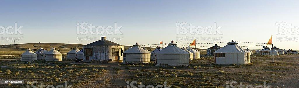 Yurt village panorama China Inner Mongolia grasslands stock photo