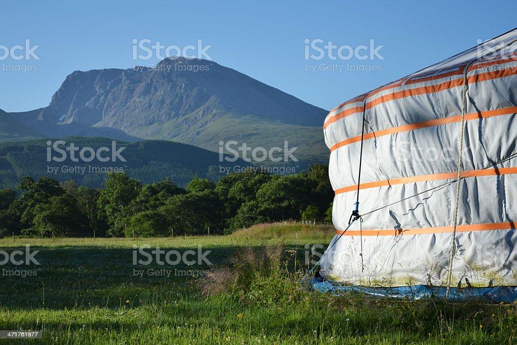 Yurt with Ben Nevis royalty-free stock photo