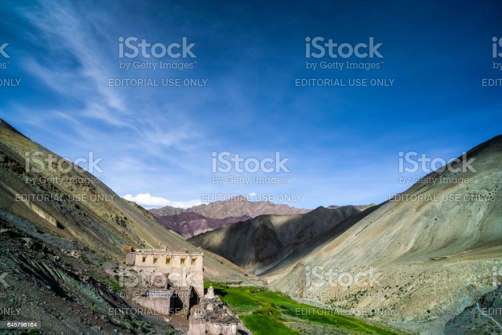Yurutse homestay, a one home village in the Markha valley (Ladakh) stock photo