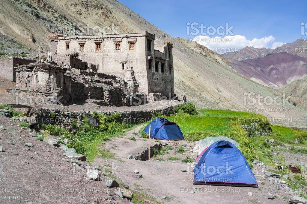 Yurutse homestay along the Markha valley trek (Ladakh) stock photo