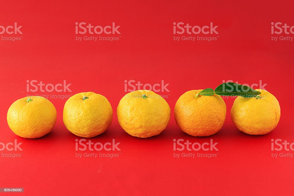 Yuzu on the red background stock photo