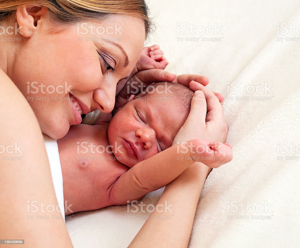 Yyoung mother and newborn son royalty-free stock photo