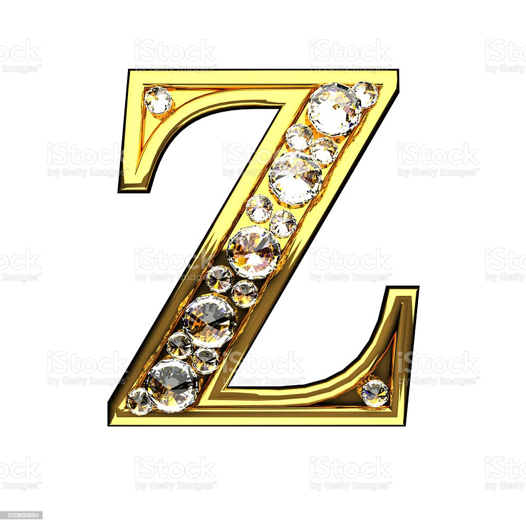 z isolated golden letters with diamonds on white stock photo