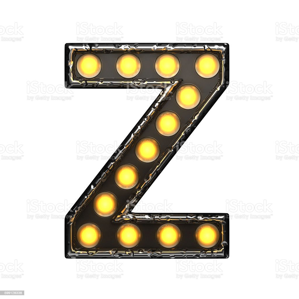 z metal letter with lights. 3D illustration stock photo