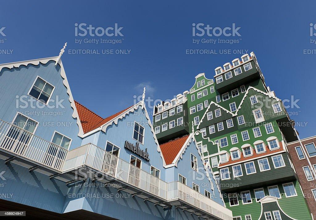 Zaanse Schans style hotel facade stock photo