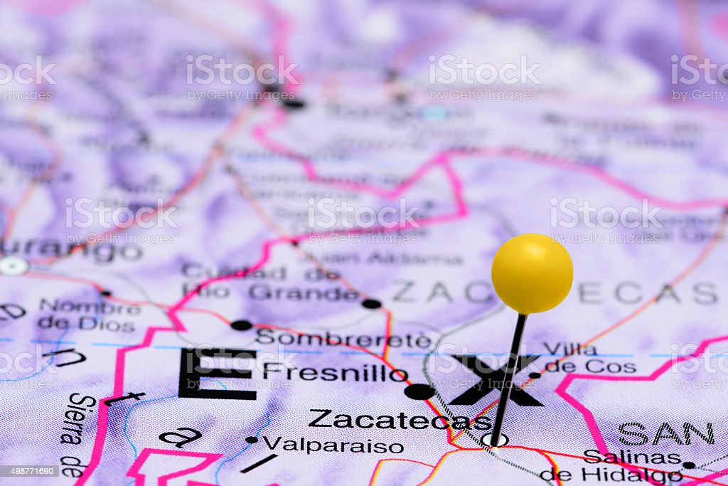Zacatecas pinned on a map of Mexico stock photo