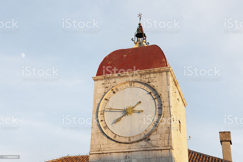 Zadar Croatia roofs and  historic clock on church bell tower royalty-free stock photo