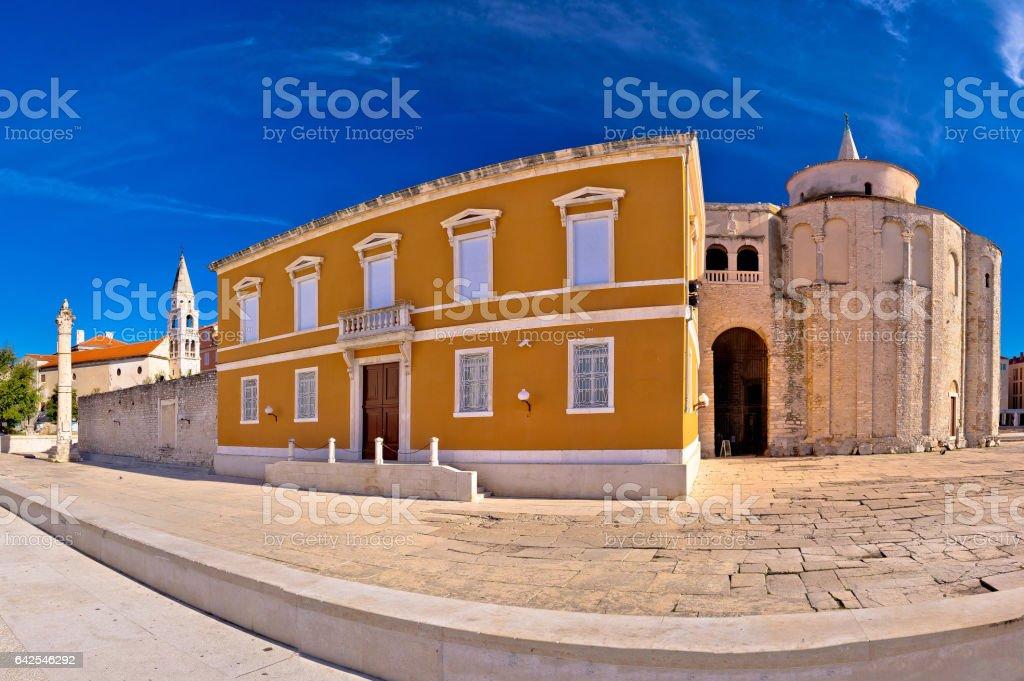 Zadar historic square panoramic view, Dalmatia, Croatia stock photo