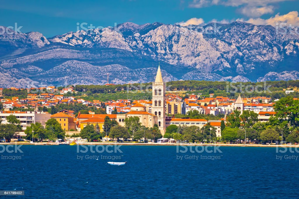 Zadar waterfront view from the sea, Dalmatia, Croatia stock photo
