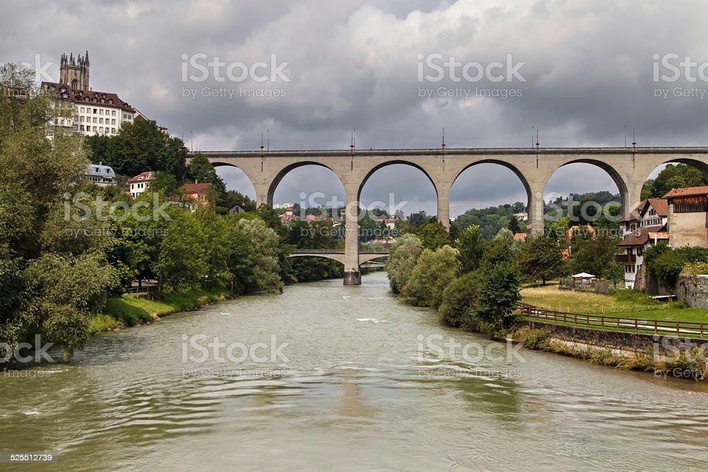 Zaehringen Bridge in Fribourg stock photo