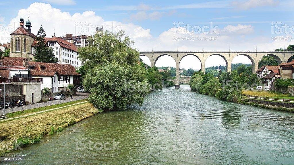 Zaehringen bridge in Friburg stock photo