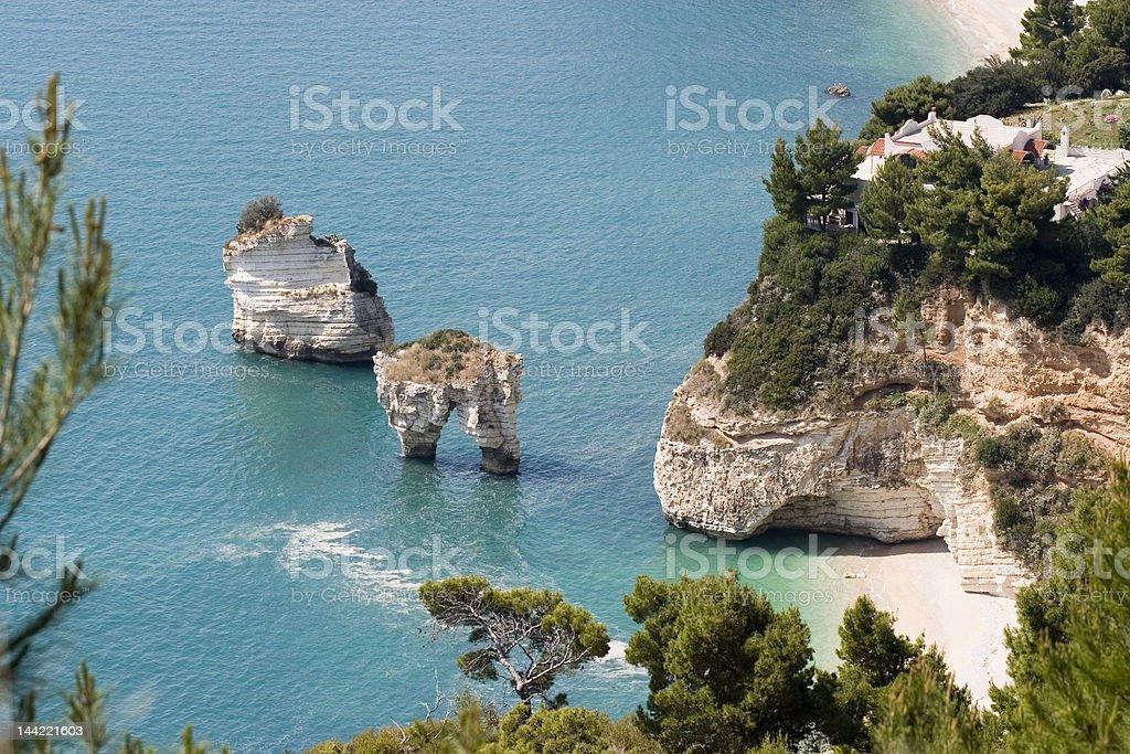 zagare- gargano coastline stock photo
