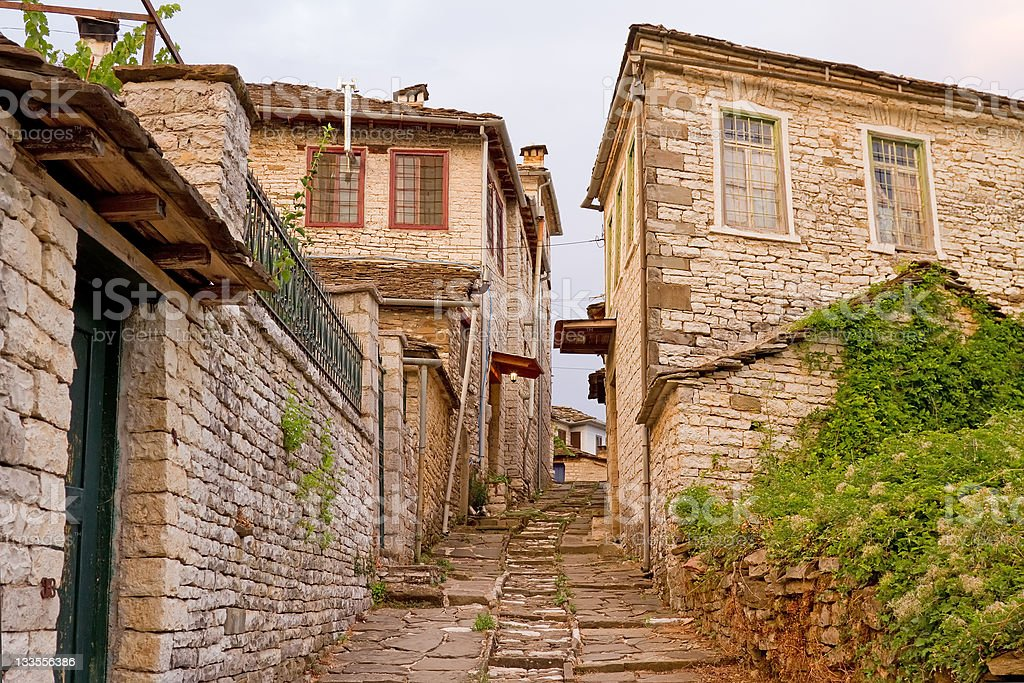 Zagori Village Alley royalty-free stock photo