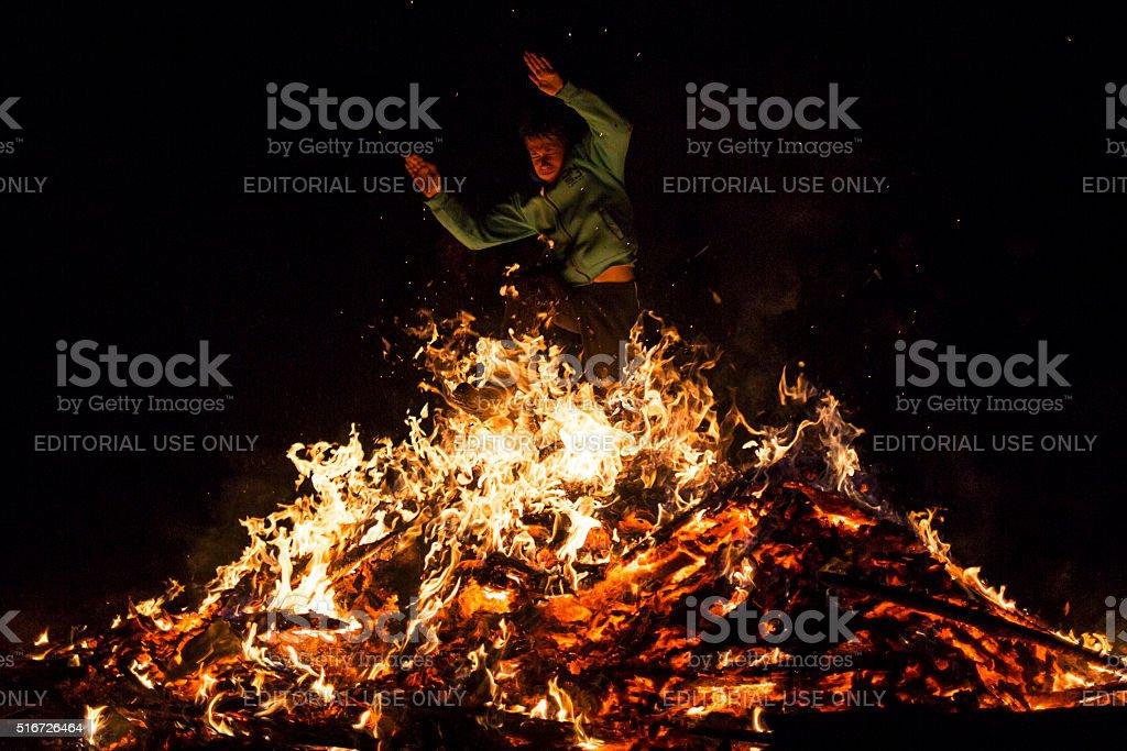 Zagovezni fire ritual jumping stock photo