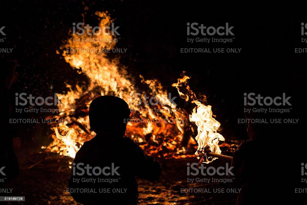 Zagovezni fire ritual stock photo
