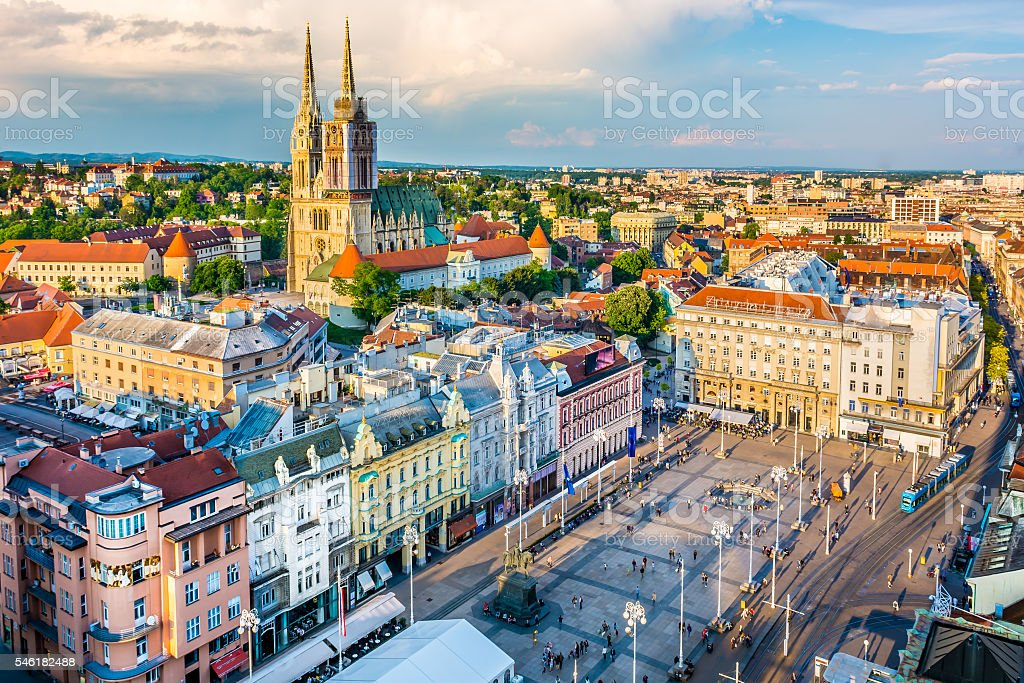 Zagreb aerial view, Croatia capital town. stock photo