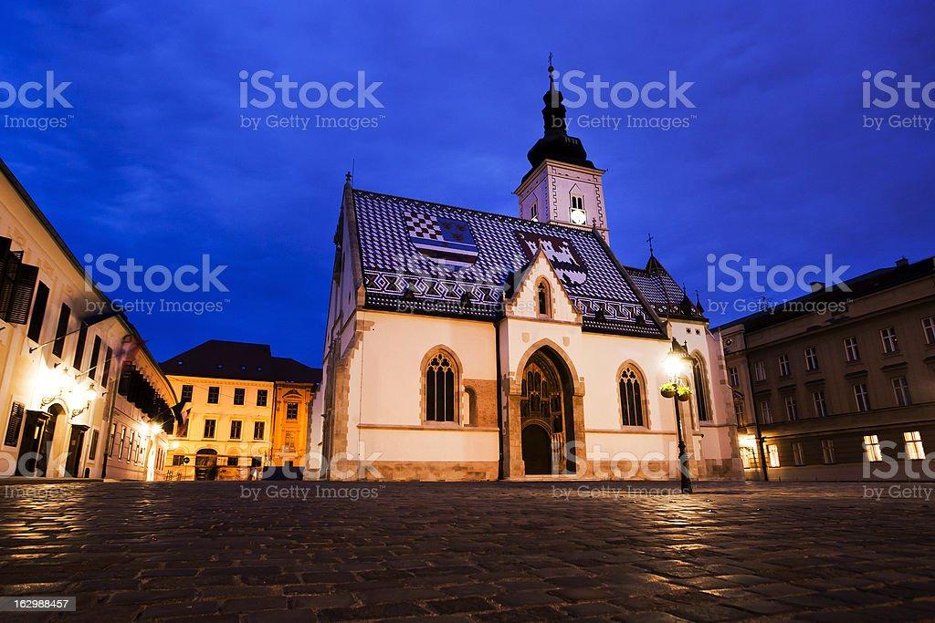 Zagreb at night royalty-free stock photo
