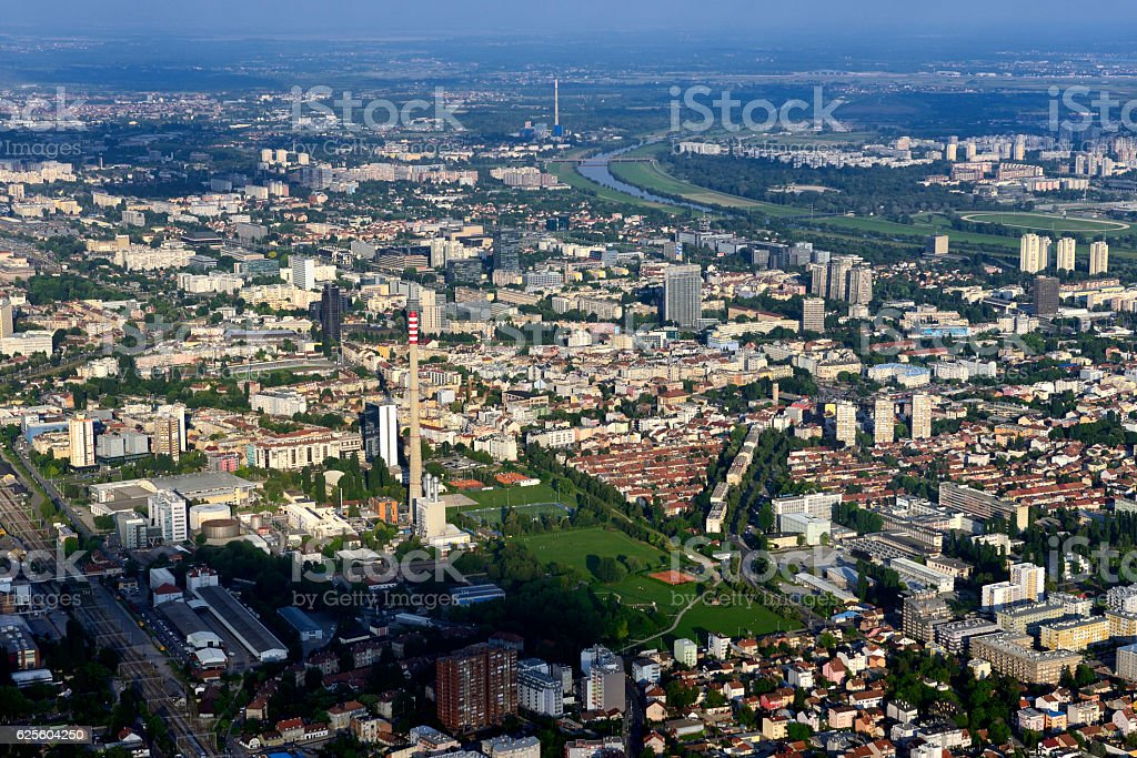 Zagreb from air stock photo