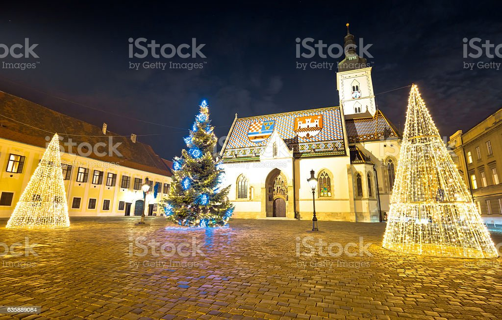 Zagreb government square advent evening view stock photo