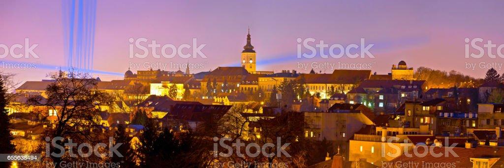 Zagreb historic upper town night view, capital of Croatia stock photo