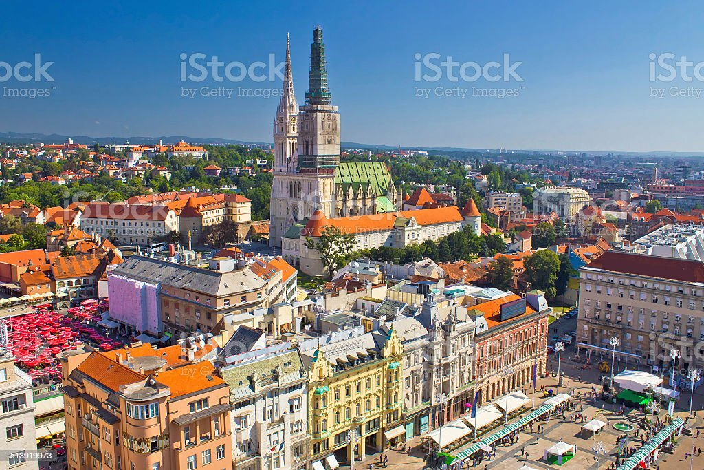 Zagreb main square and cathedral aerial view stock photo