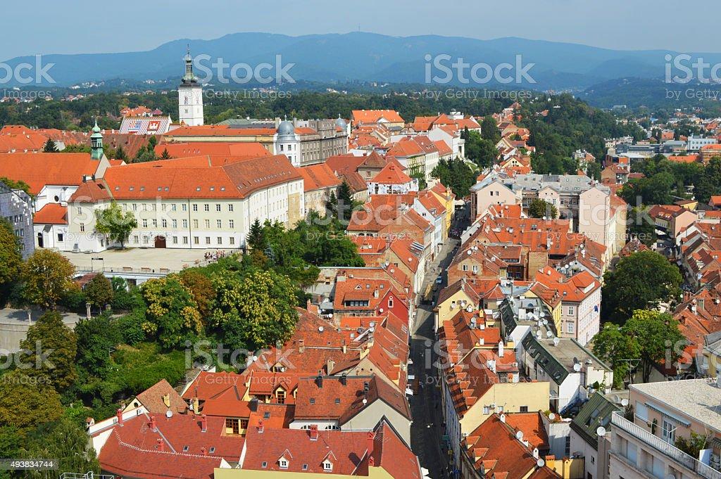 panorama de zagreb de Croacia foto de stock libre de derechos
